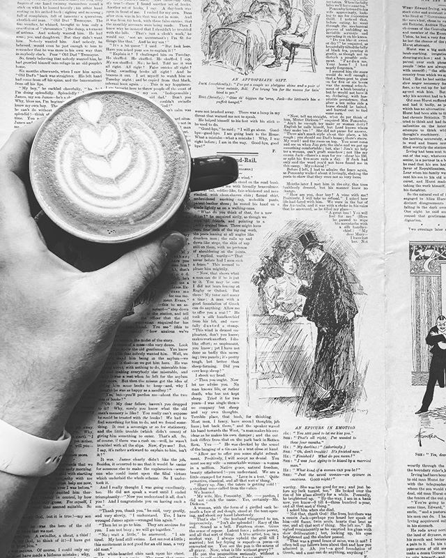 Vintage news papers and pretty sick brews are a thing of beauty on a Saturday morning ....#coffee #vintage #newspaper #latteart #coffeeshop #caffeine #coffeeaddict #saturday #coffeehouse #roxburghhouse