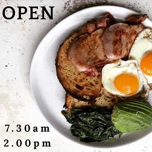 The bacon will be frying, the avocados will be smashed and the eggs poaching! Open from 7.30am - 2.00pm for all your brunch needs!